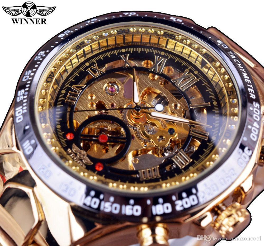 815e0251775 Compre Vencedor Da Marca De Moda De Nova Relógio De Ouro À Moda Homens De  Aço Masculino Relógio Clássico Mecânico Auto Vento Vestido De Pulso  Esqueleto ...