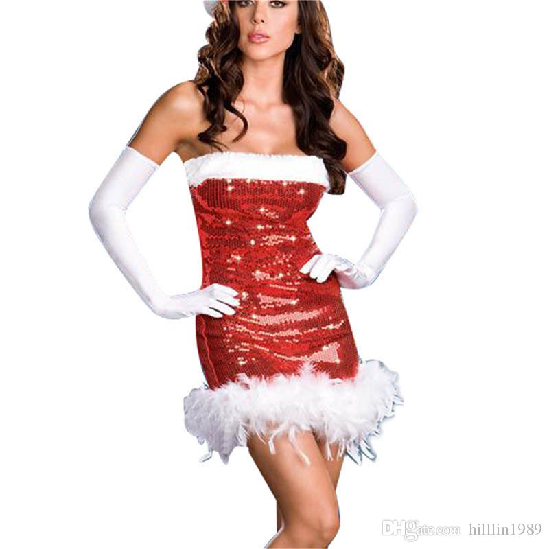 Red Off-shoulder Santa Fancy Dress Sexy Sequin Sleeveless Christmas Party Theme Cosplay Costume Night Club Dresses