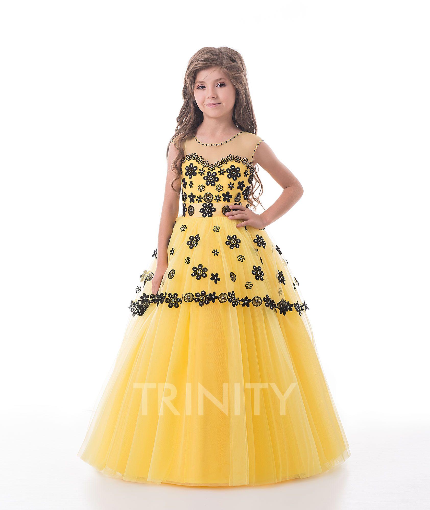 Bright Yellow Purple Tulle Applique Flower Girl Dresses Girls