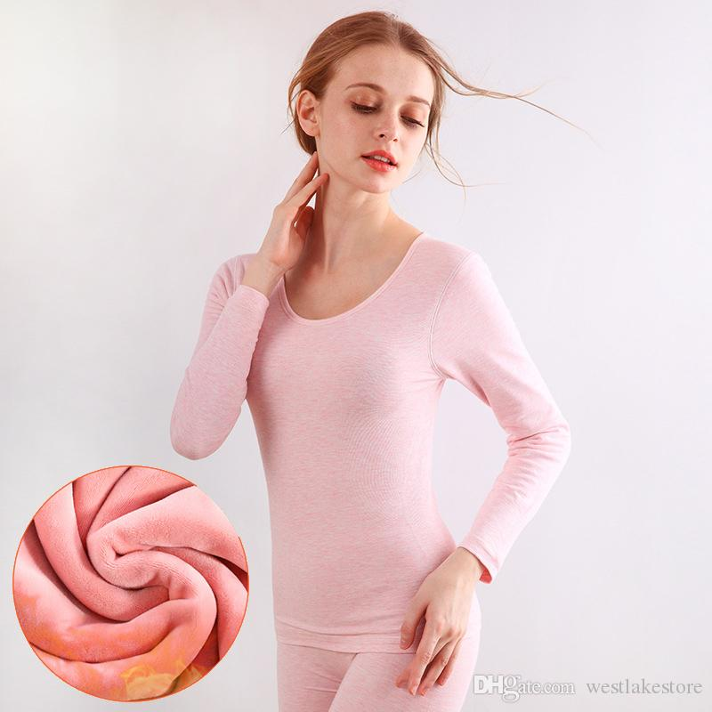 0251a838ad 2019 Fashion Thick Cashmere Women Thermal Underwears Sexy Slim Warm Winter  Warm Long Johns Ladies Seamless Antibacterial Suit From Westlakestore