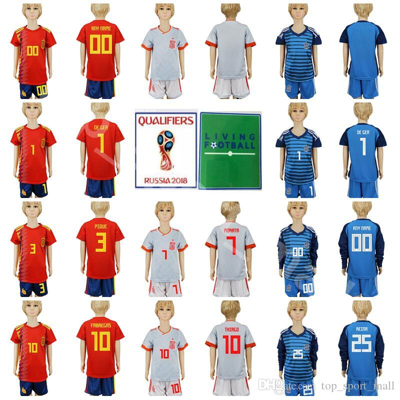Spain Youth Soccer Jersey 2018 World Cup Children 3 PIQUE 5 BUSQUETS ... 1577d8f82