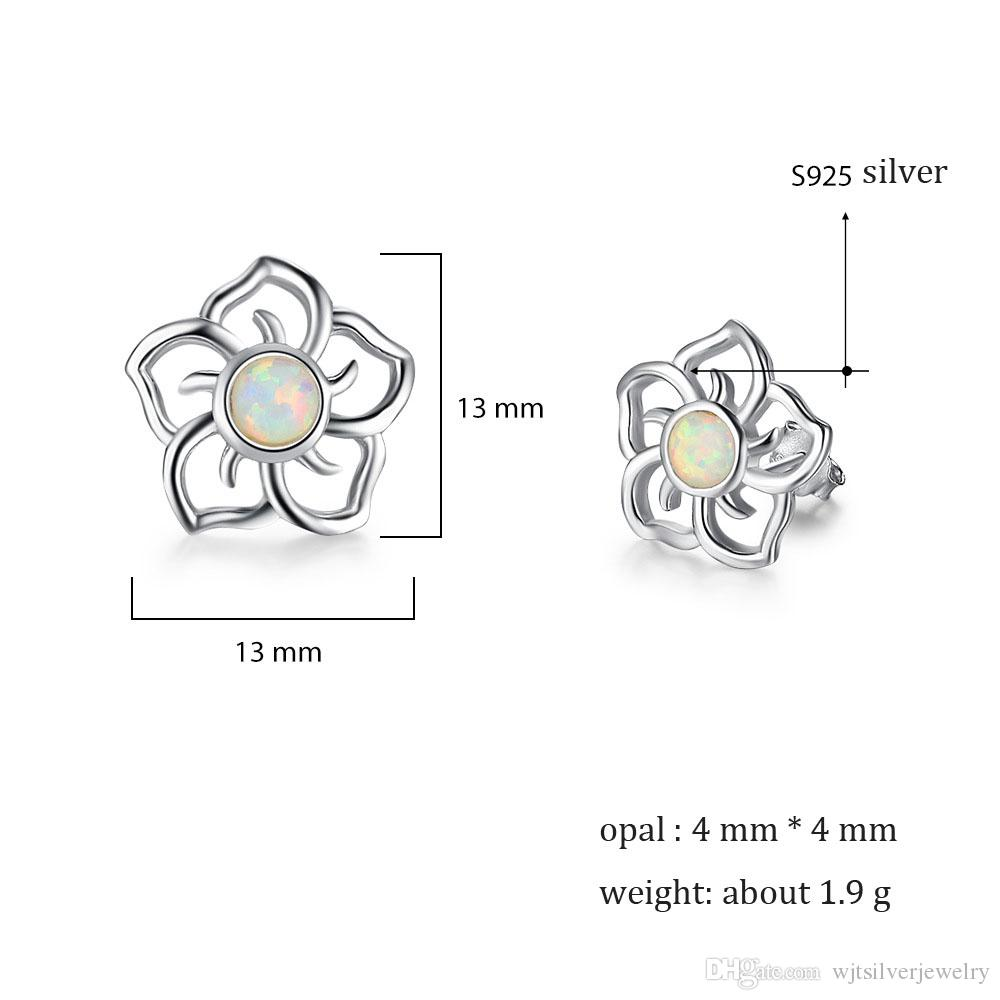 Kadınlar ucuz ince takı EA102051 için Charm Nefis S925 Gümüş Küpe Hollowed Beyaz Opal Çiçek saplama Küpe