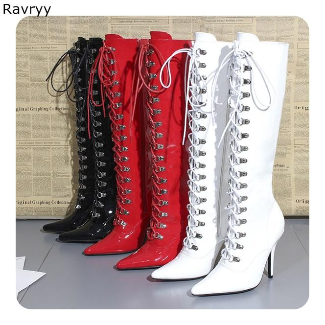 26338962745 Red Patent Leather Woman long boots Cross tied Knee-high Boot Hot Fashion  Model Fun Club Party female booties thin heel shoes