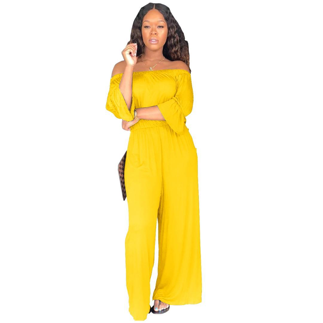 ede64cf6862b 2019 Women S Sexy Fashion Off Shoulder Ruffle Wrist Sleeve Solid Jumpsuits  Wide Leg Long Pants Beach Casual Bohemian Romper Q142 From Cactuse