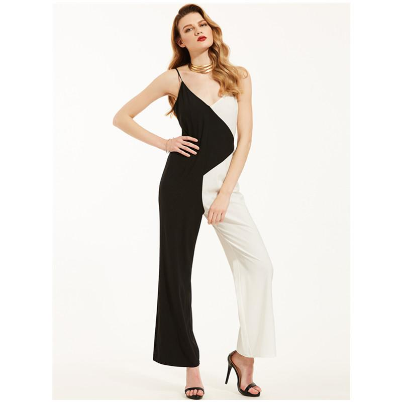 c6514fa6cd1 Playsuit For Women Patchwork V Collar High Waist Jumpsuit Female 2018  Spring Vintage Urban Sexy Bodysuits Sexy Jumpsuit Pants Online with   62.19 Piece on ...