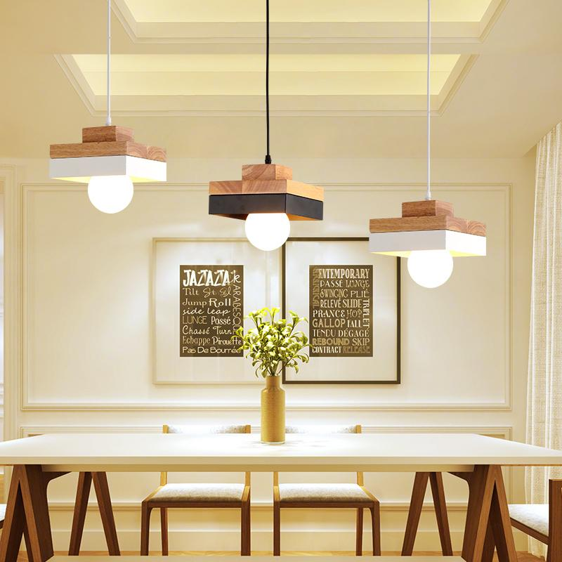 Dining Room Lamp Droplight Led Light Single End Real Wood Desk Bedroom Lamps And Lanterns Ceiling Shades Pendant