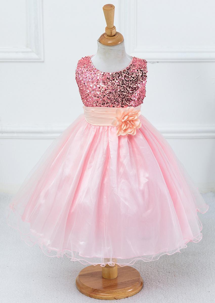 Small Flower Girl Dresses And Children Sequined Bow Skirt Gauze