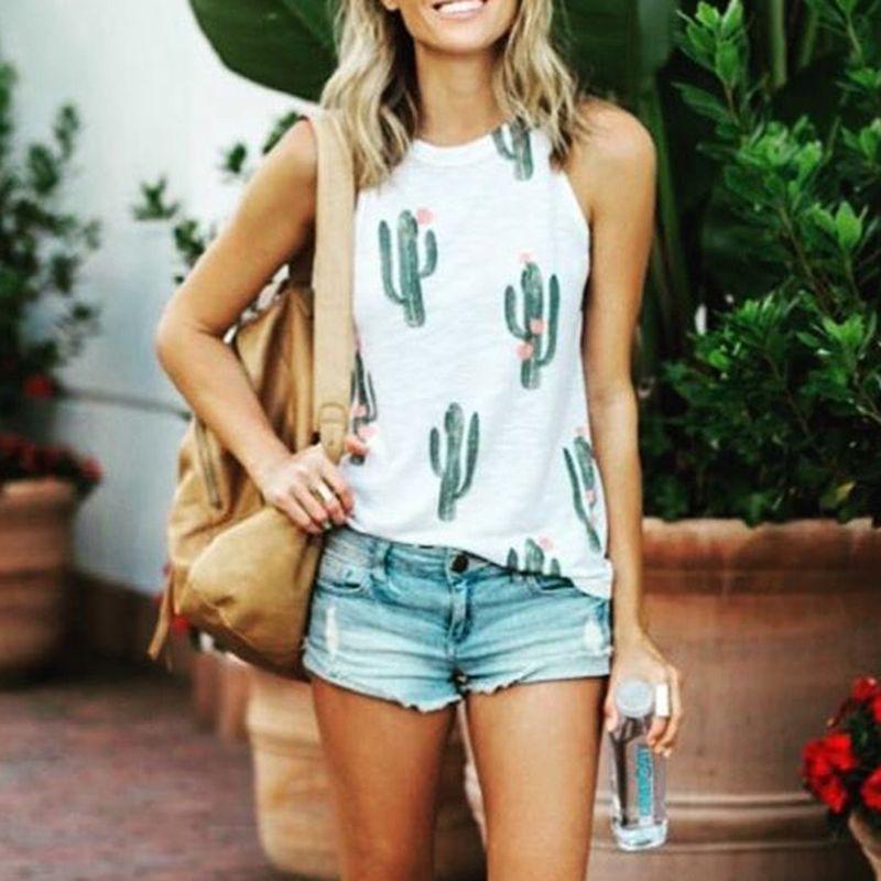 Frauen Crop Top 2018 Sommer Strap Cactus Print Tank Tops beschnitten Feminino Damen elastische Freizeithemd Weste Camisole