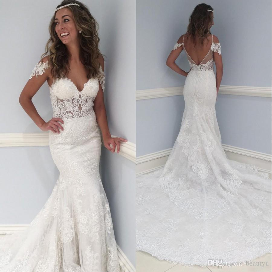 Vintage Full Lace 2018 Mermaid Wedding Dresses Plus Size Formal Long Bridal Gowns V Neck Backless Cap Sleeves Trumpet Boho Wedding Gowns