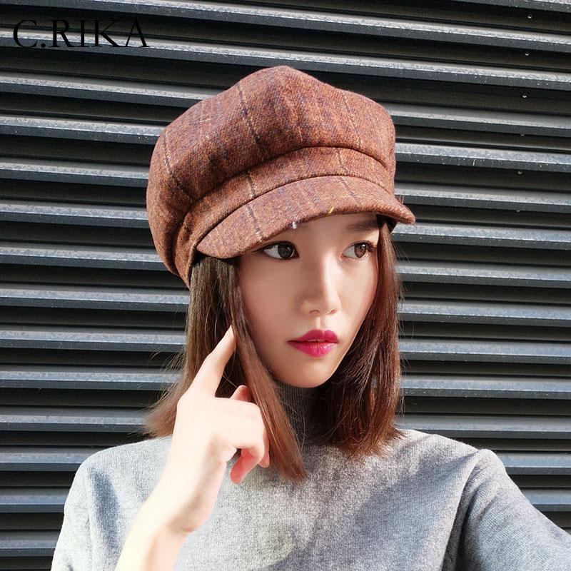 Compre Mulheres Boina Outono Inverno Cap Octagonal Japonês Lattwild ... ec28221f785