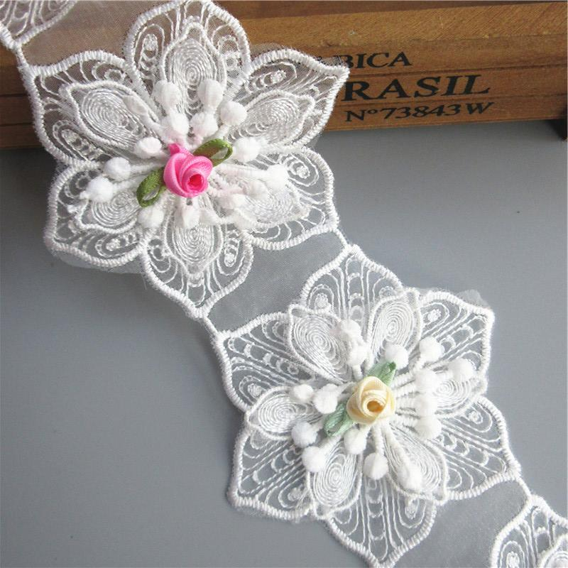 8cm Wide 3D White Cotton Hexagonal Flower Embroidered Lace Trim Ribbon Sewing Supplies Craft For Costumes Decoration 2 yard