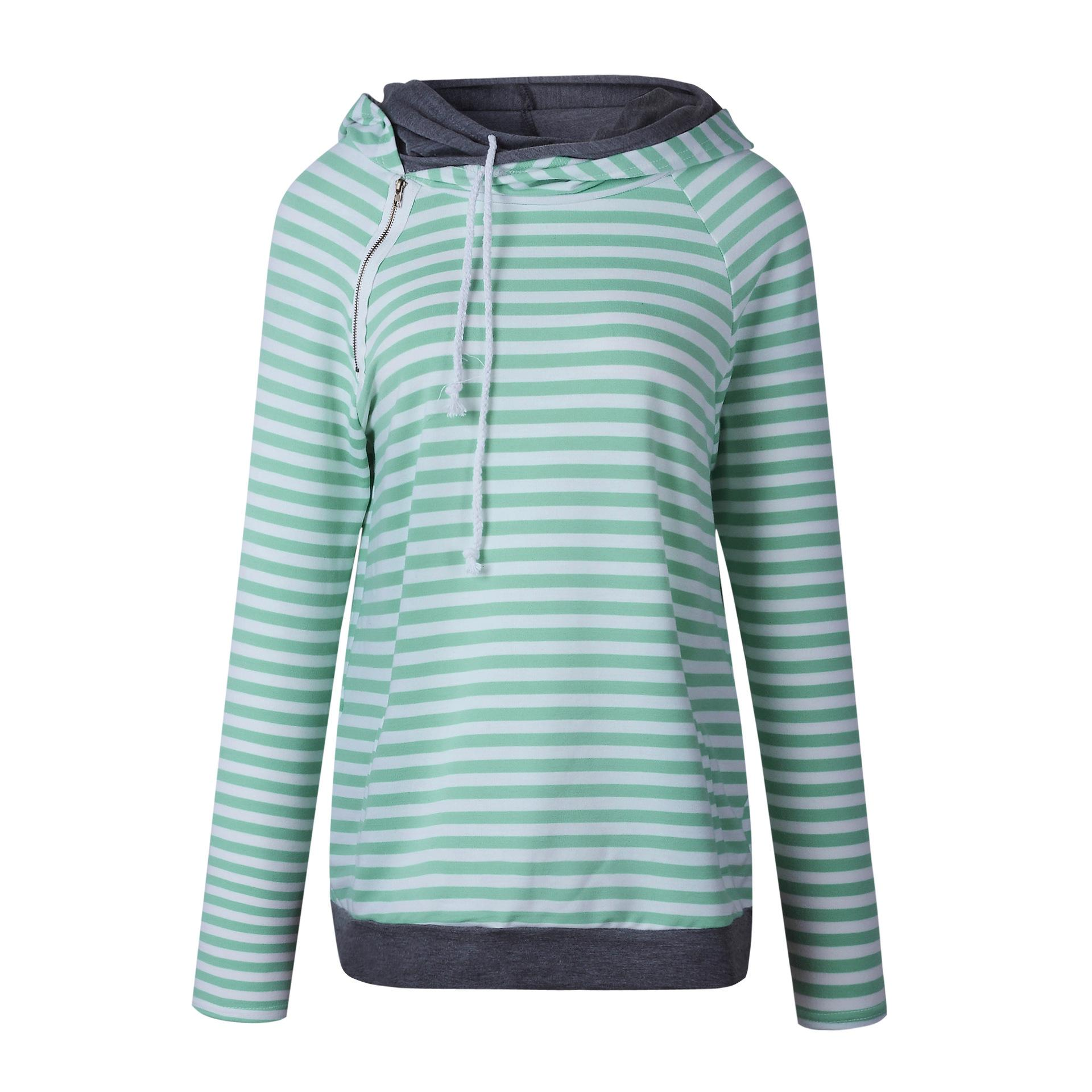 Striped Hoodies Women 2018 Spring 3xl Plus Size Pullovers Zip Green Pink  Thick Women Hooded Sweatshirt Autumn Casual Wear UK 2019 From Beasy112 9f19e6762