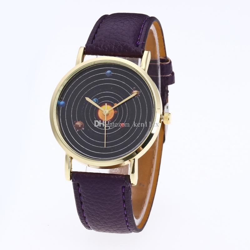 Fantastic Saat Solar System Leather Band Watch alarm clock Analog Quartz movement WristWatches reloj mujer erkek kol saat