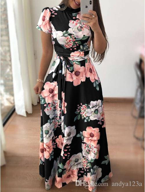 862cb603795d AVODOVAMA M 2018 Summer Dresses Floral Print Casual Loose Maxi Dress Women  Short Sleeve Tie Waist Long Robe Femme Online with  171.43 Piece on  Andya123a s ...