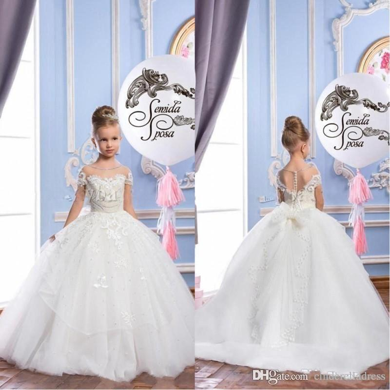 2018 White Pearls Lace Sheer Neck Tulle Arabic Girls Pageant Dress ...
