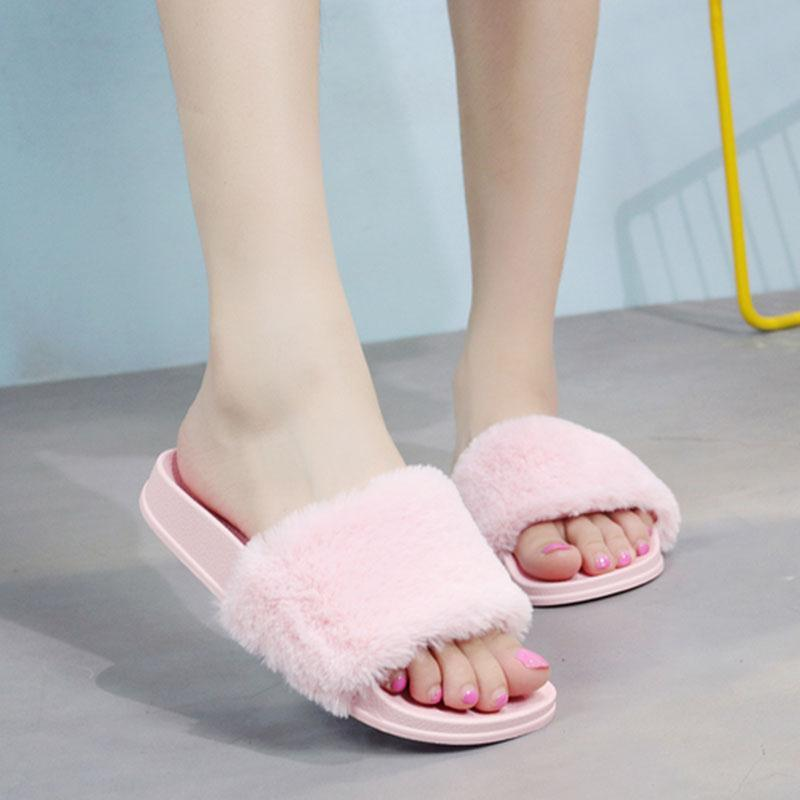 43b9933254d9 2017 Autumn Fluffy Women Slippers Faux Fur Open Toe Thicken Antiskid Solid  Color Flip Flops Plush Fashion Indoor Outdoor Shoes Slipper Dress Shoes  From Yera ...