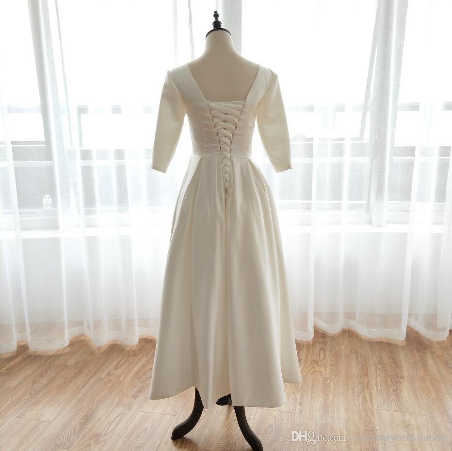 Mid-Calf Three Quarter Wedding Dresses 2018 Simple Satin V-Neck A Line Country Bridal Dresses custom made Vestido Noiva ZW032