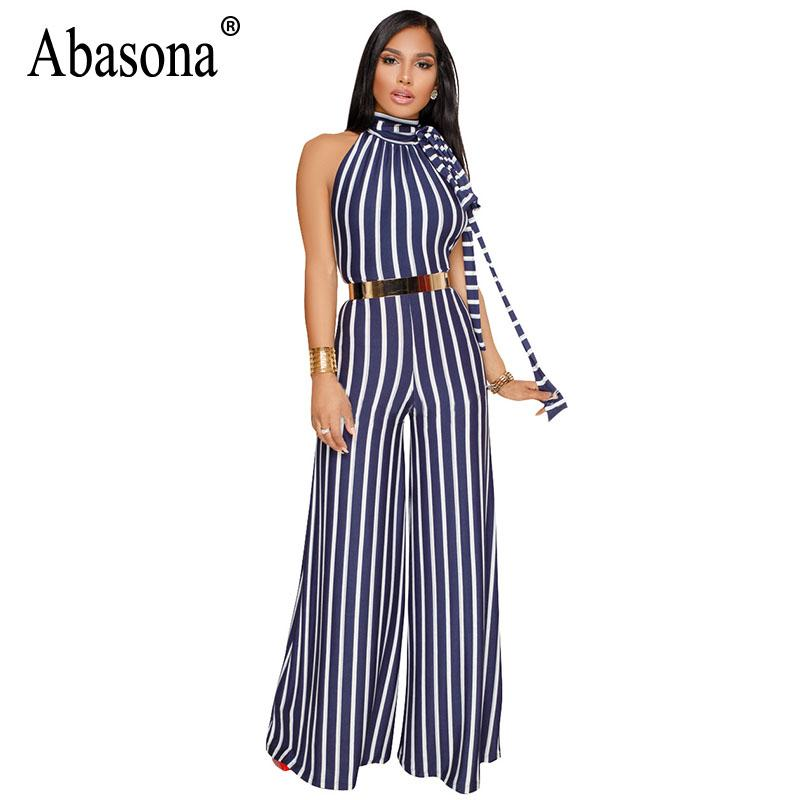 8c861b2c185 Abasona Striped Jumpsuits Women Wide Leg Pants Summer Female ...