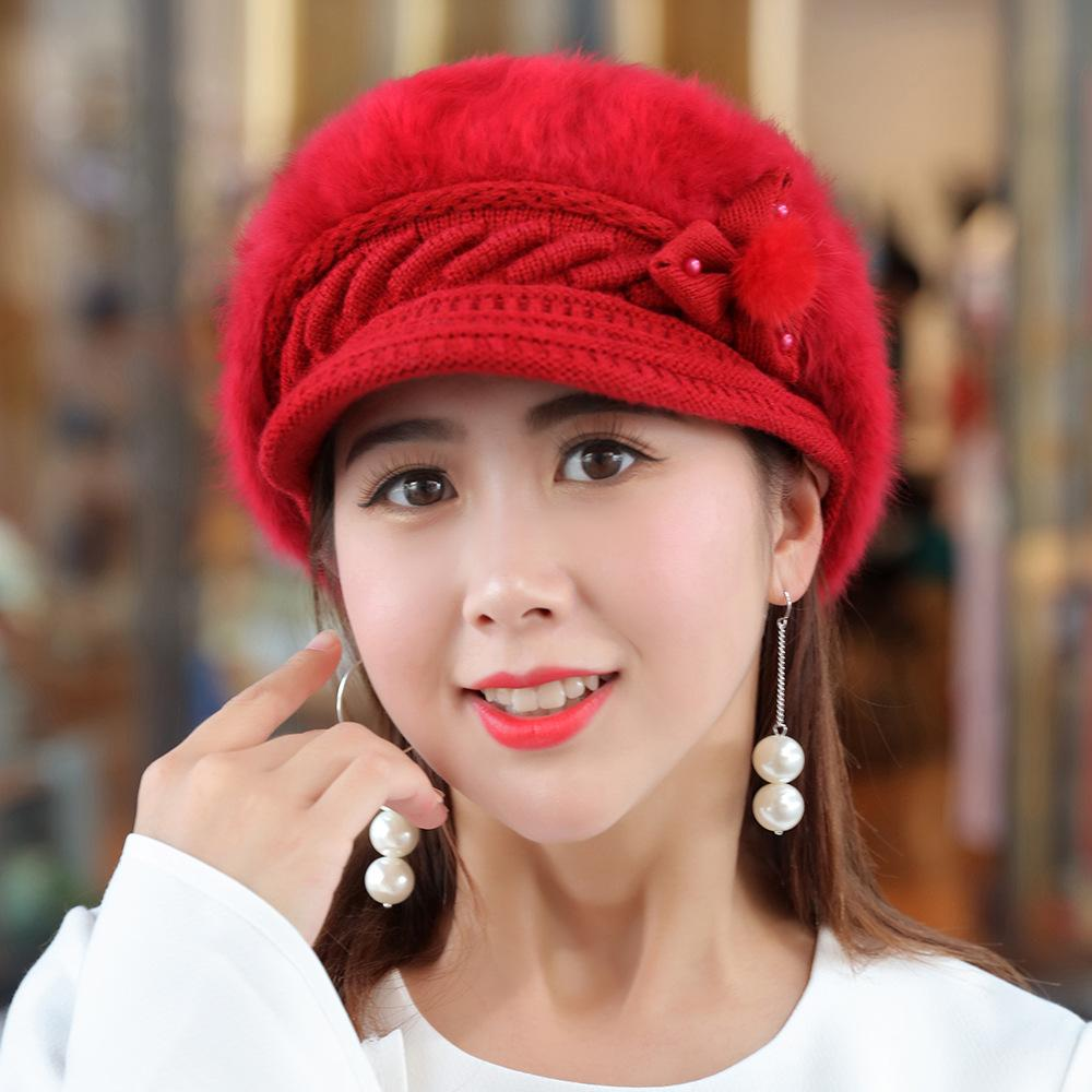 3436d9d101820 2019 Women Winter Rabbit Fur Hat Knitted Wool Berets Fleece Warm Casual Cap  Bow Knot Solid Hats Female Elegant Ladies Beret From Milknew
