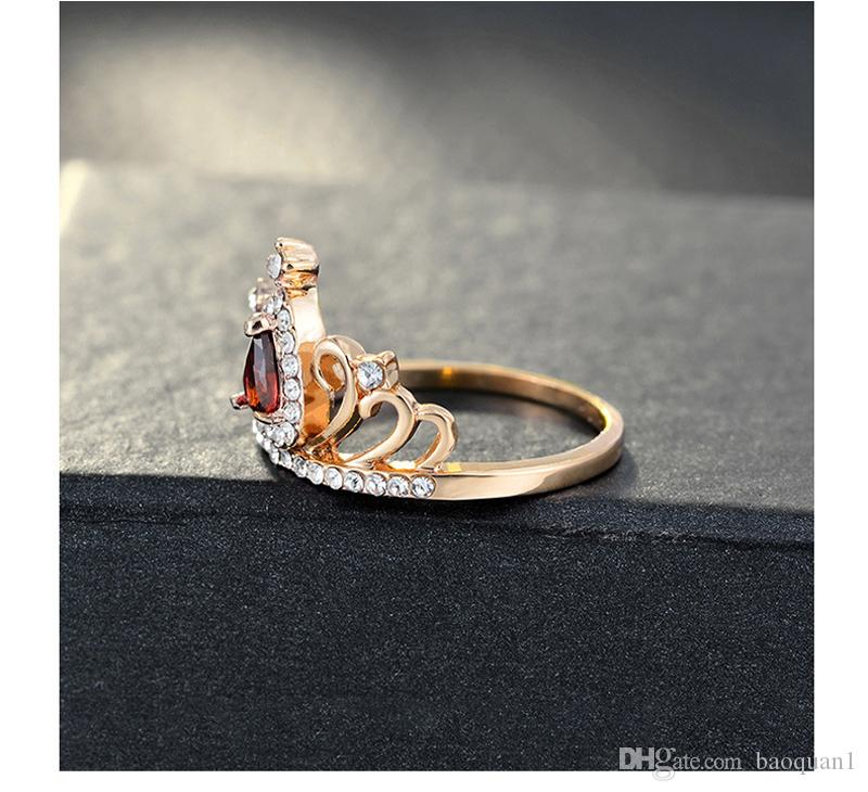 2018 Electroplated Diamond Solitaire Ring For Women New Creative Fashion Jewelry Alloy Zircon Ladies Ring Crown Shape Diamond Ring