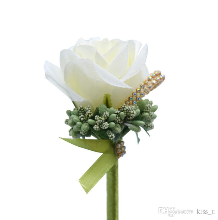 ff46da87a Silk Rose Flowers Brooch Pin Alloy Wedding Corsages Satin Rose ...