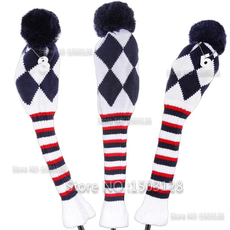 Golf Knitted Pom Pom Sock Covers 1-3-5 Golf Wood Headcover For ...