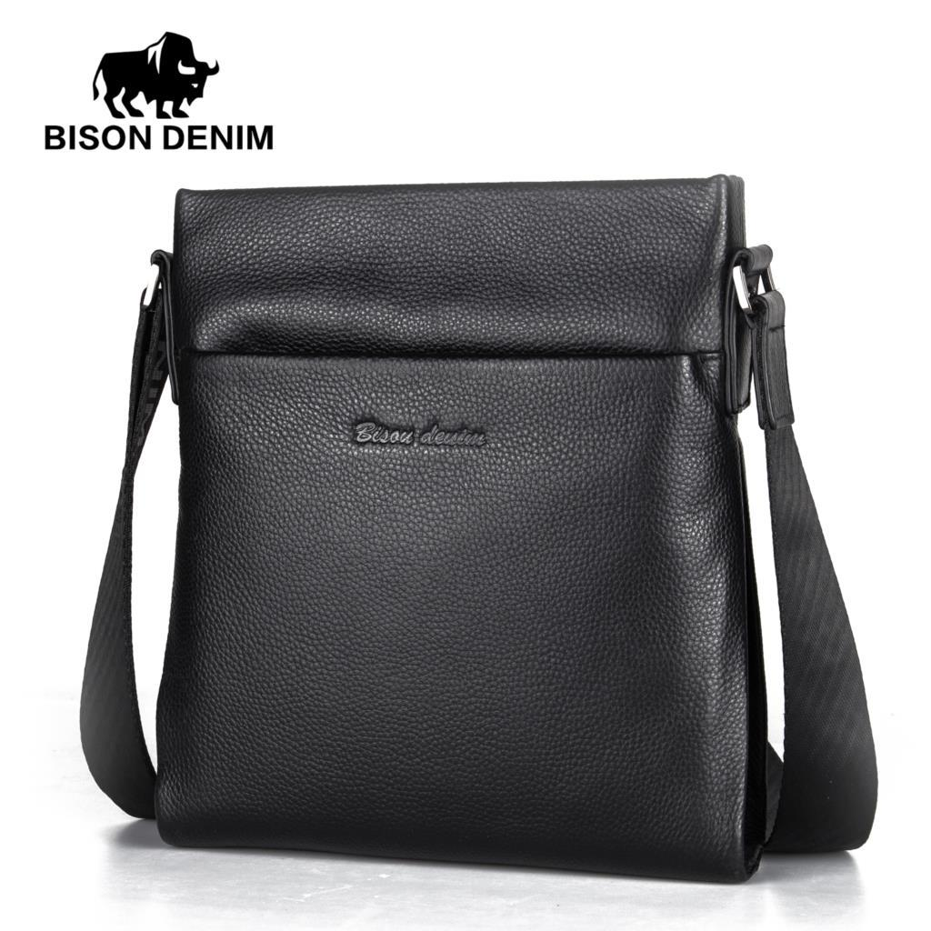 BISON DENIM Men S Genuine Leather Shoulder Bag Cowskin Crossbody Bag Men  Slim Male Business Travel IPad Messenger Bags N2716 Purses For Sale Leather  Purse ... 3bc1fb71d0266