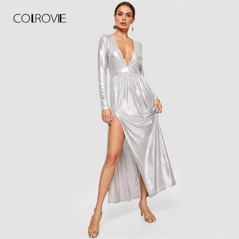 d05ad4d4dc1 COLROVIE Silver Long Sleeve Deep V Neck Metallic Split Maxi Dress 2018  Autumn Zipper Sexy Party Dress Night Out Women Prom Gowns Cute Dresses For  Women From ...