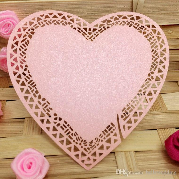 Laser Cut Name Cards With Hearts Paper Cutting Seating Cards For