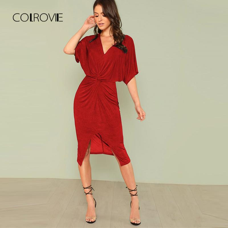 947fb4084375 2019 COLROVIE Red V Neck Twist Front Half Sleeve Split Sexy Bodycon Dress  2018 Autumn Solid Elegant Midi Party Dress Women Dresses From Dolylove