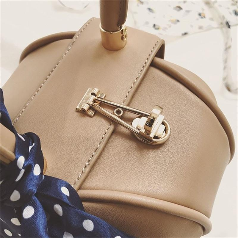 WEIJU Women Totes Bag with Ribbons Fashion New Circular Leather Vintage Brand Handbag For Girl Small Round Lady Messenger Bags