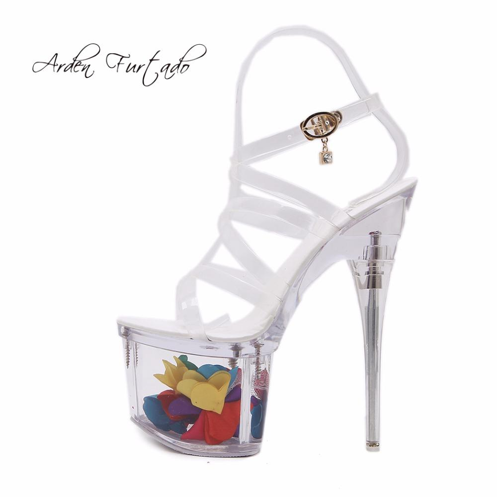 8dd5857c993 Arden Furtado 2018 Summer Crystal High Heels 15cm Clear Pvc Fashion Shoes  For Woman Stilettos Heels Platform Sandals Women Shoes Ladies White Shoes  Silver ...