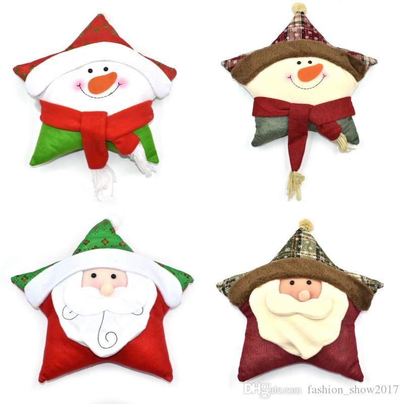 Happy New Year Gift Christmas Santa Claus Pillow Home star shape Car Home Decor Bed Decorative pillows