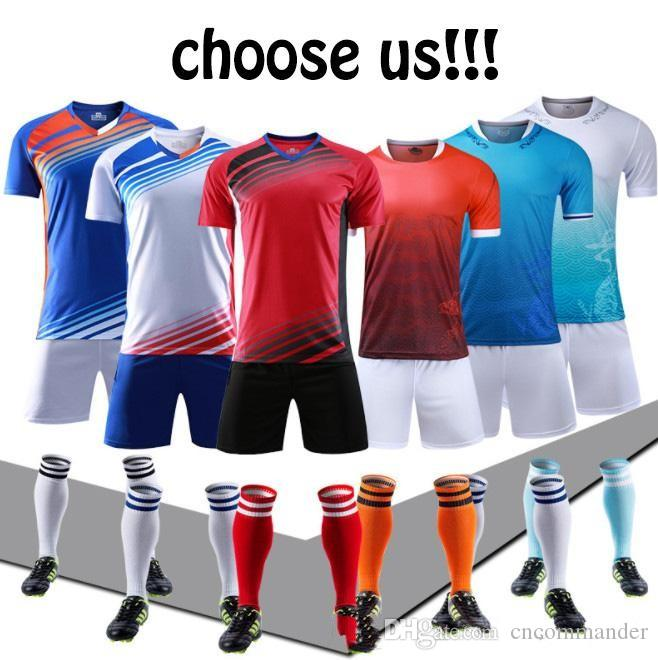dd30886e2 Custom jersey uniforms adult children's soccer suit kit personalized  printed jerseys short sleeves shorts soccer practice team