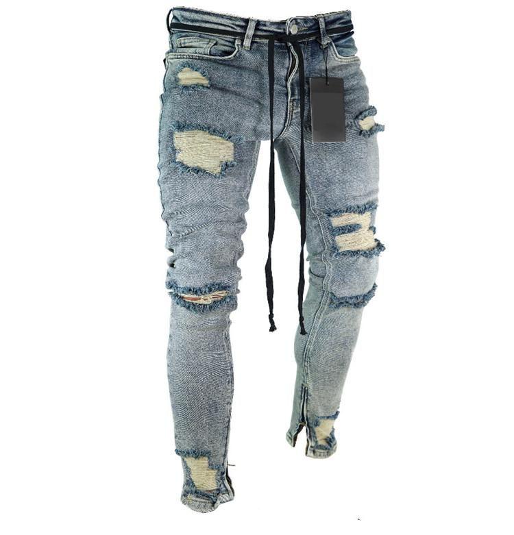 2182a6397 Compre Pantalones Vaqueros Destruidos Lavados Con Lápiz Azul Pantalones De  Mezclilla Pierna De La Cremallera Pantalones Rotos Más El Tamaño Al Por  Mayor ...