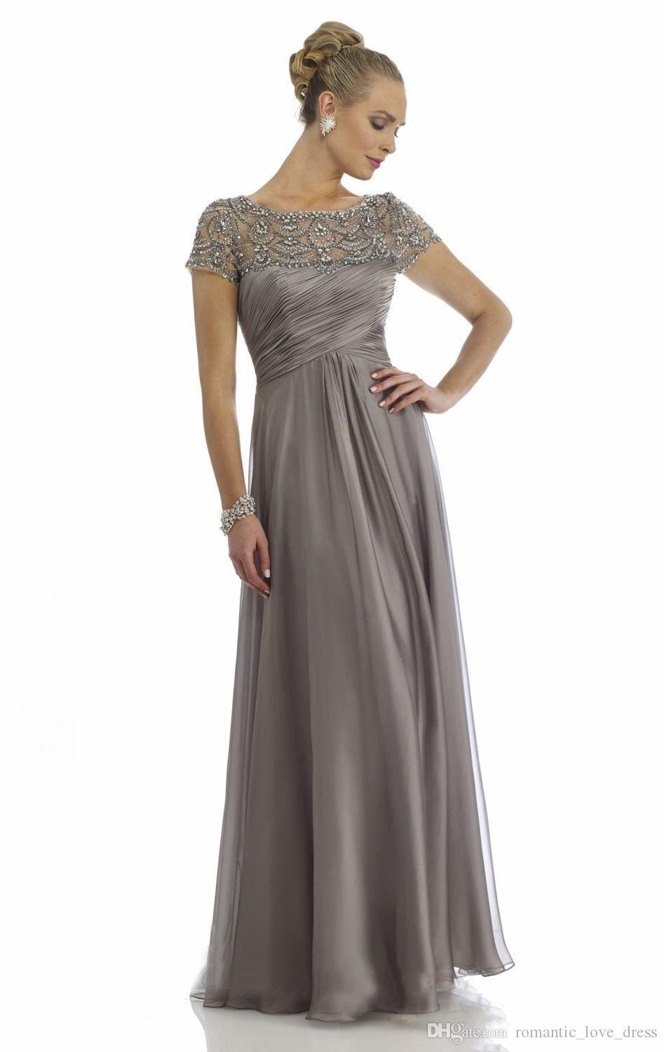 Gray Chiffon Mother of the Bride Dresses 2018 Luxury Rhinestone Crystals Short Sleeve Empire A-Line Sheer Mother of Bride Groom Dresses M03