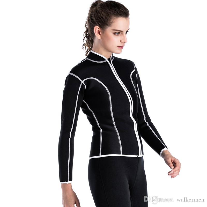 10202dbec5 2019 2MM Neoprene Surf Wetsuit Swimming Spearfishing Wetsuit Women Anti  Jellyfish Warm Diving Equipment Shirt Black Triathlon Wet Suit Jacket L  From ...