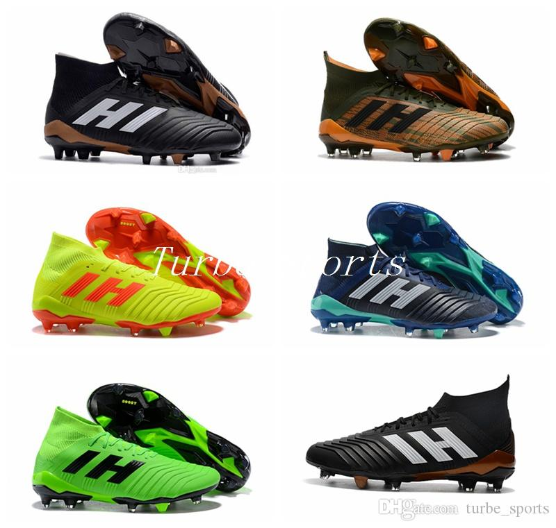 86b1d0072439 2019 2018 Predator 18.1 Skystalker Pack FIRM GROUND FG Soccer Cleats Socks  Bright Orange Core Black Laceup Outdoor Football Shoes Size 39 45 From ...