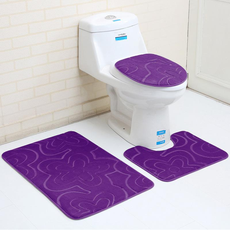 Flannel Bathroom Mat Sets Microfiber Geometric Modern Anti Slip Bath