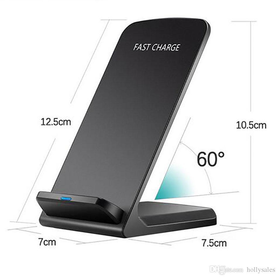 Top qualidade Qi Carregador Rápido sem fio 5v 2A 9v 1.3A 10W 2 Bobinas de carregamento rápido pad Suporte para iPhone x samsung S9 mais mix2s Xiaomi