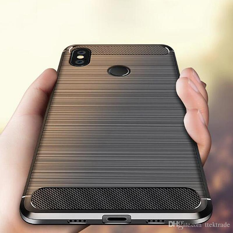 the latest d29f3 cd50c For Xiaomi Redmi Note 5 Pro Note4 4X 4A 4S 3S Mi5 5S Max 6 Case Carbon  Fiber Brushed Pattern Rugged Protective Back Cover TPU Silicone Case