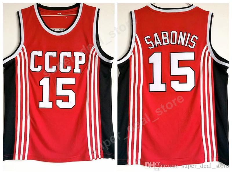47a3a9844 2019 Arvydas Sabonis Jersey 15 Basketball CCCP Team Russia College Jerseys  Men Red Team Color All Sttitched Sports Top Quality On Sale From Vip_sport,  ...