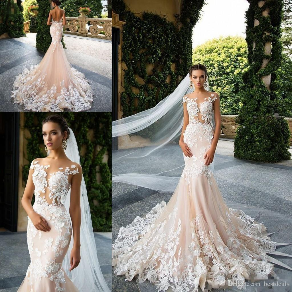 Milla Nova 2017 Vintage Champagne Mermaid Wedding Dresses Sheer Neck Cap Sleeves Lace Appliques Illusion Backless Bridal Gowns Wedding Gowns