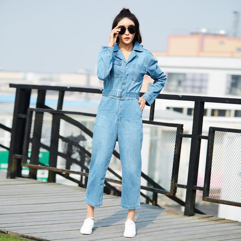 1c0b791e6bd 2019 Denim Jumpsuits For Women 2018 Autumn Long Sleeves Suit Collar Office  Lady Jeans Jumpsuit Loose Wide Leg Romper Long Pants From Lucycloth