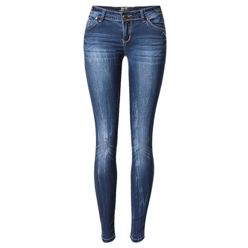 9d3fc4721e1 Women Low Waist Bleached Scratched Jeans Plus Size Casual Pencil ...