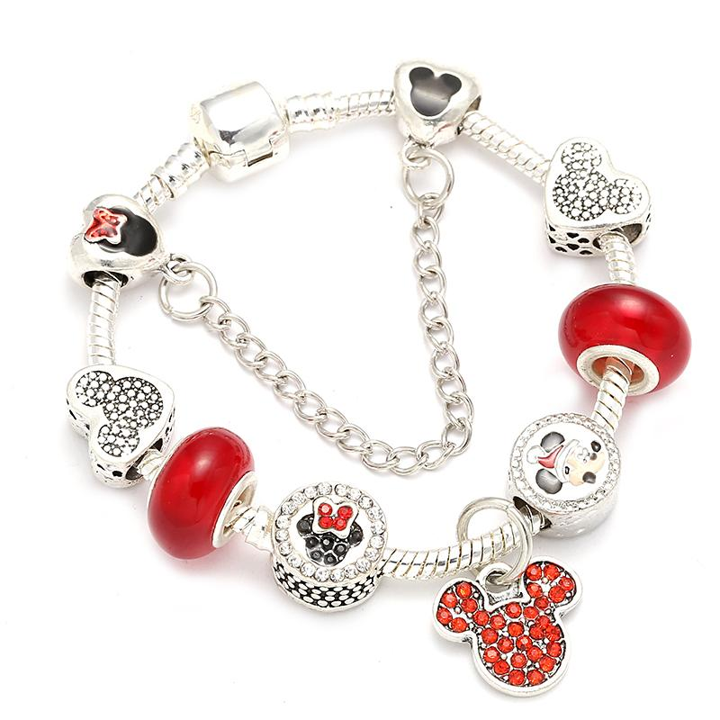 BAOPON Cartoon Charm Bracelet Murano Glass Charm With Beacelets & Bangles For Women Girls Gift