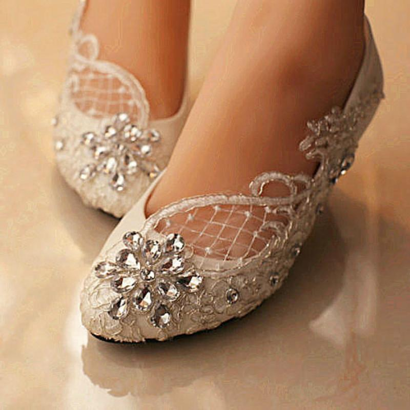 435a70e4497a Ballet Flats Lace White Crystal Wedding Shoes Bridal Flats Low High Heel  Pump Flat Size 5 10 Womens Shoes On Sale Benjamin Adams Wedding Shoes From  ...