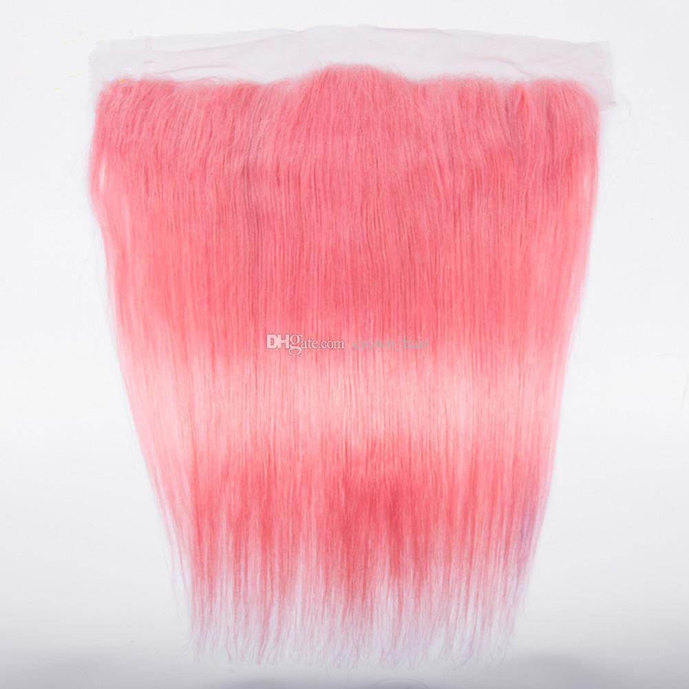 Populaire de couleur rose soyeux cheveux raides tisse avec dentelle frontales / droite oreille à oreille frontale avec cheveux rose bundles