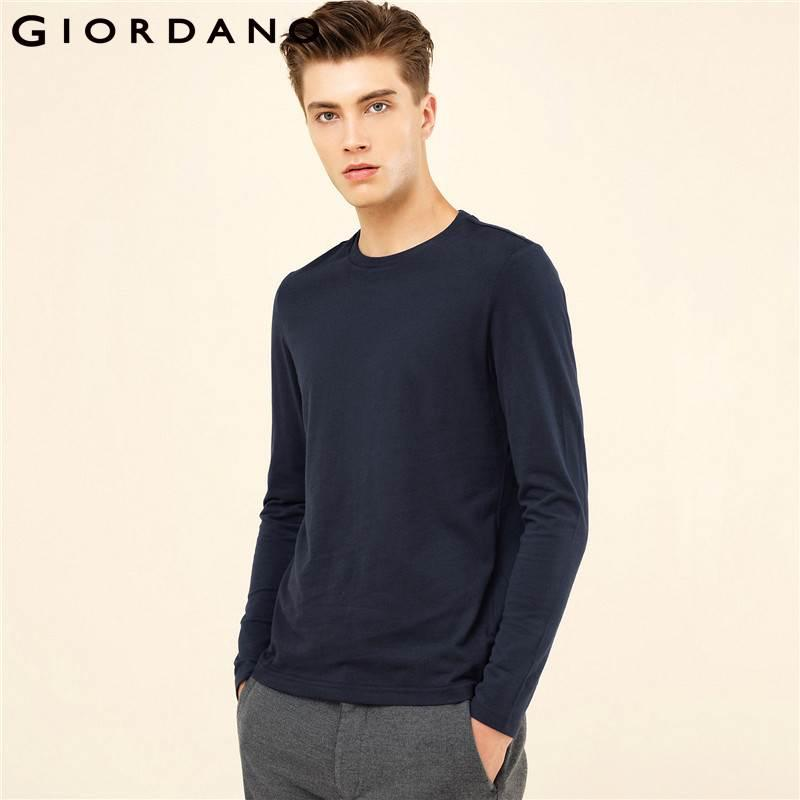 da3089cefb17 Giordano Men T Shirt Solid Ribbed Crewneck Tshirts Long Sleeves Brushed  Cotton Warm Fitting Tee Winter Casual Clothing Online T Shirt Printing On T  Shirts ...