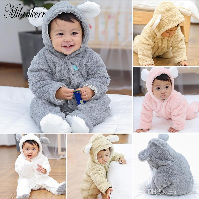 77f55e62474 2019 Newborn Baby Girl Clothes Toddler Baby Velvet Rompers Winter Cotton Fleece  Bear Long Sleeve Sleepwear Jumpsuit Infant Baby Clothes HY0138 From Yangze